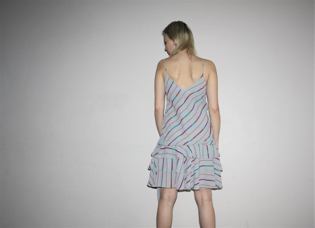Vintage 1980s Gray Rainbow Graphic Abstract Minimalist Drop Waist Flapper Slip Dress With Frill Skirt