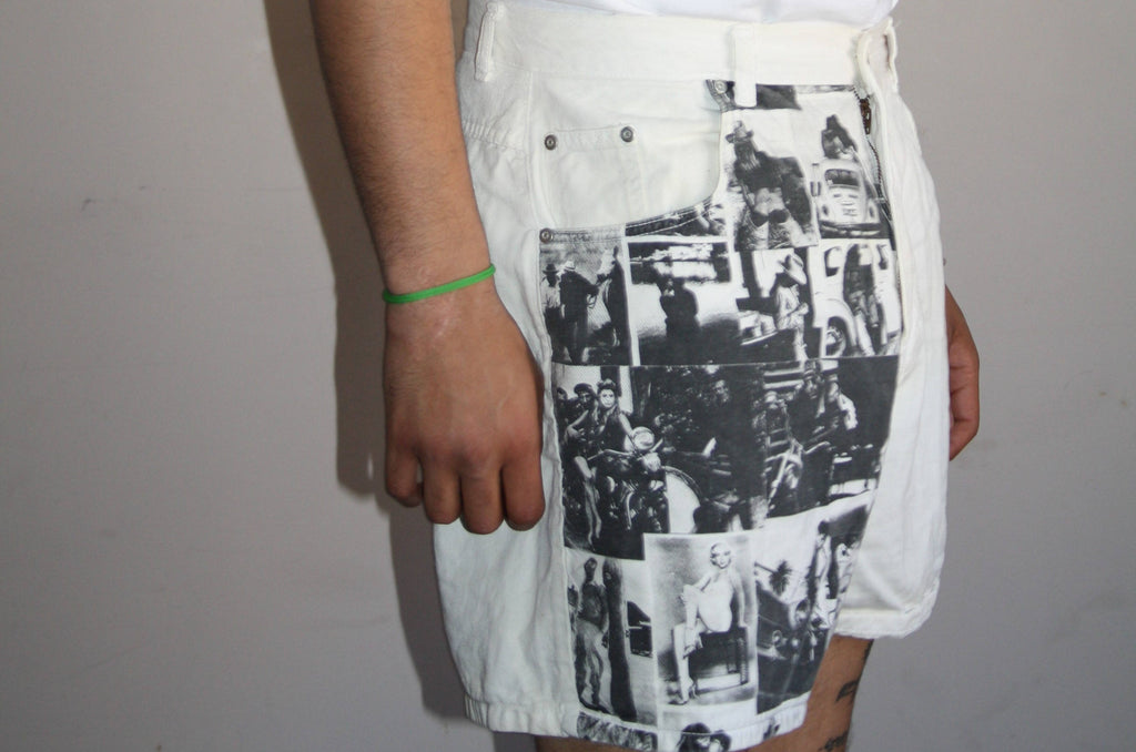 1990s Black and White Vintage Photography Graphic Novelty Denim Shorts