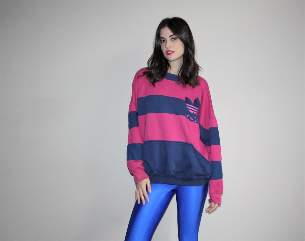 80s ADIDAS Oversize XL Pink and Blue Striped Women's Sweatshirt