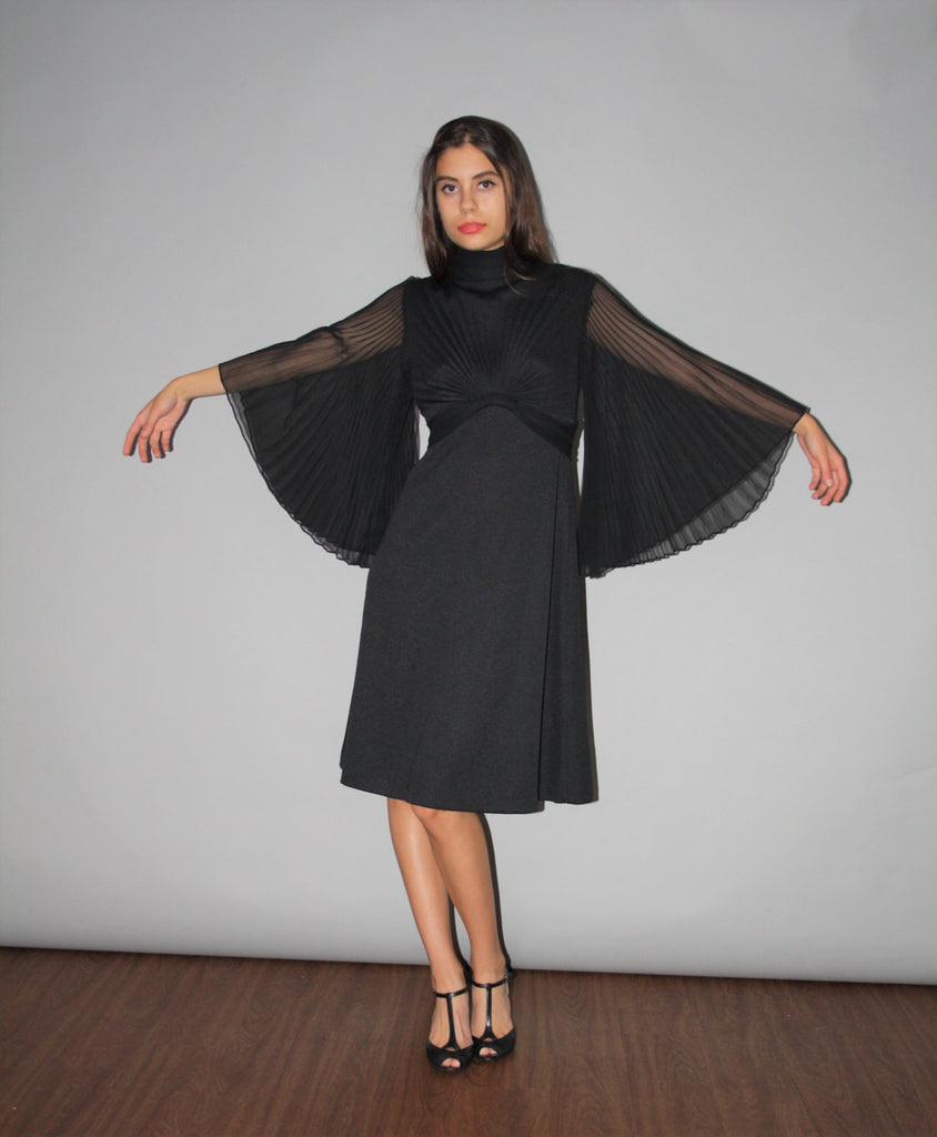 Vintage 1960s Dramatic Black Gothic Goth Sheer Batwing Sleeve Cocktail Dress