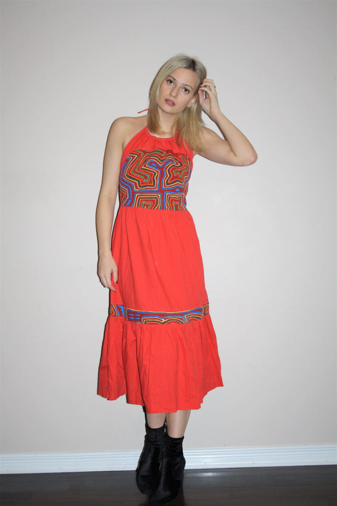 Vintage 1960s Tribal Red long Rainbow Embroidered Boho Hippie Folk Ethnic Halter Festival Dress