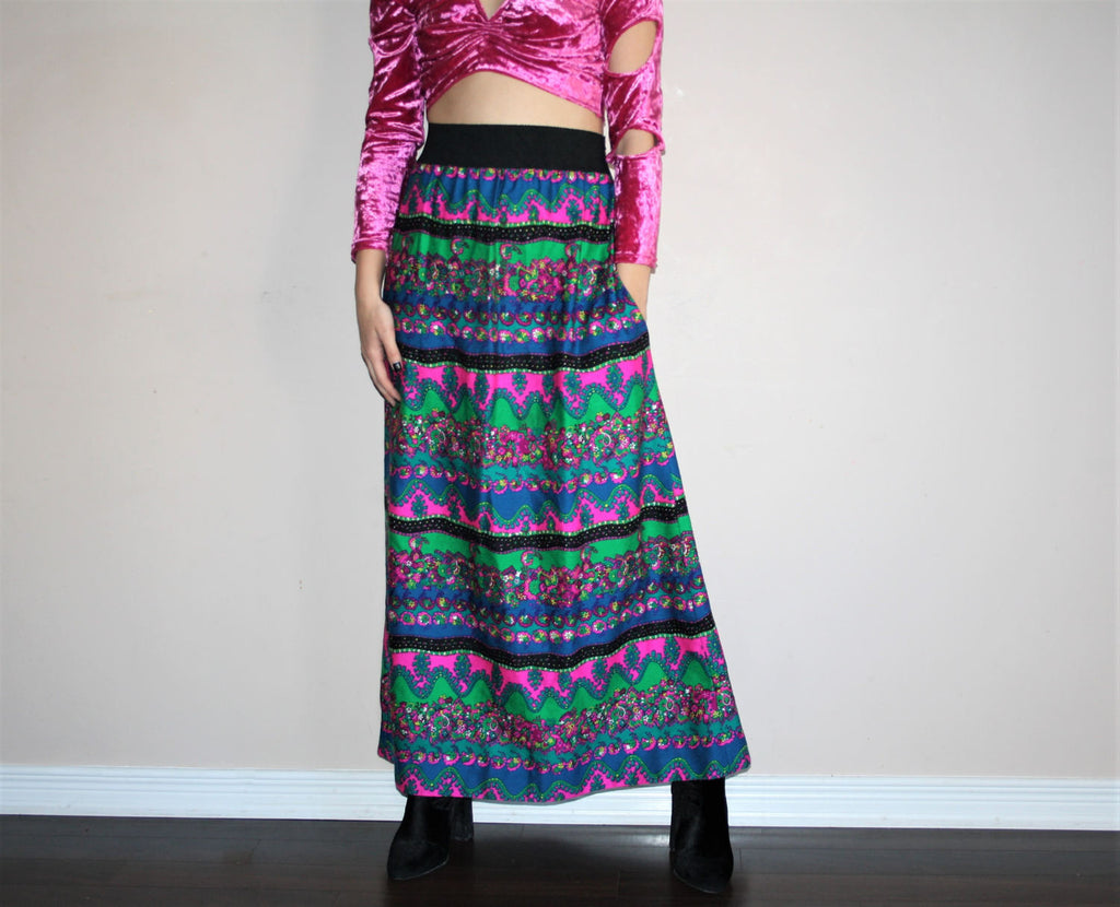 Vintage 60s Psychedelic Paisley Floral Hippie Festival Maxi Skirt