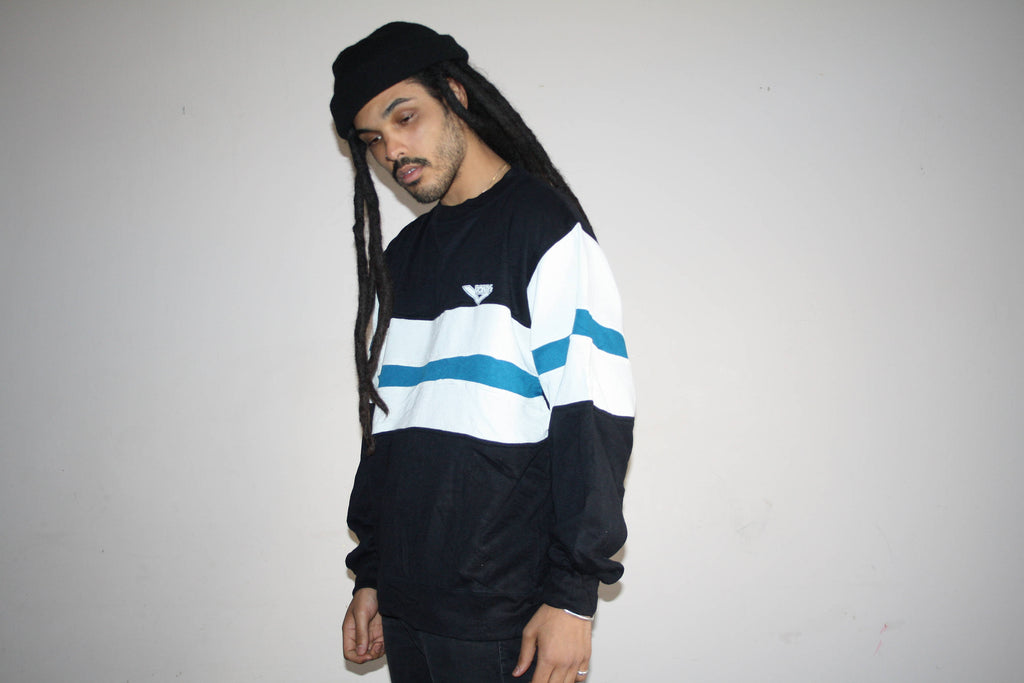 1980s Vintage Pony Brand Black and Blue Colorblock Sweatshirt
