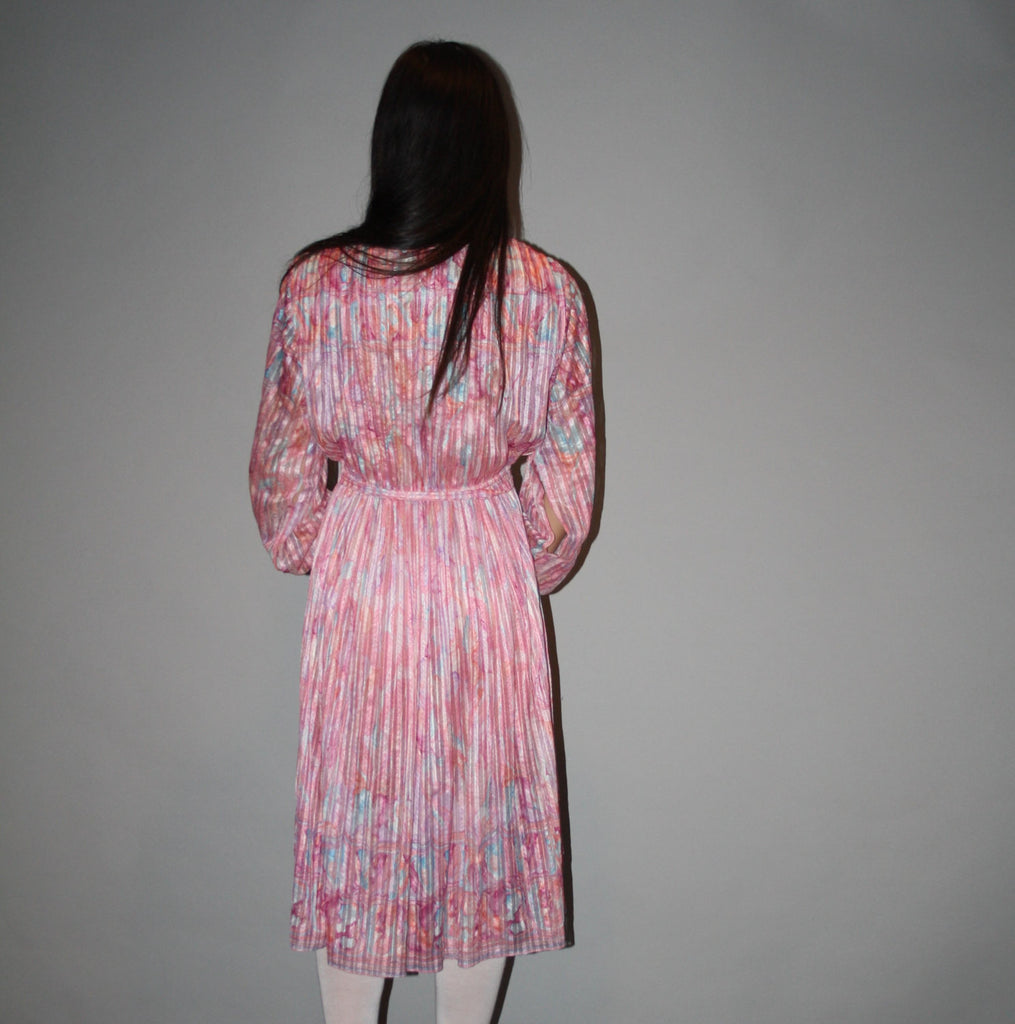 Vintage 1980s Pastel Pink Silk Sheer Dress