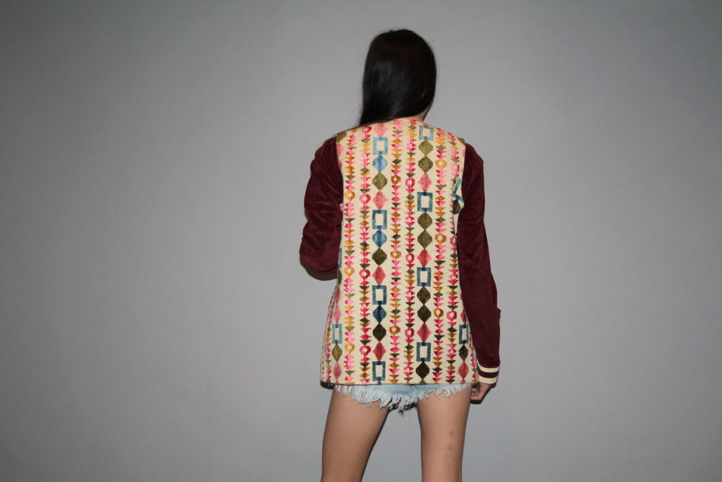 1980s Geometric Abstract Pattern Woven Boho Pastel Rainbow Vest