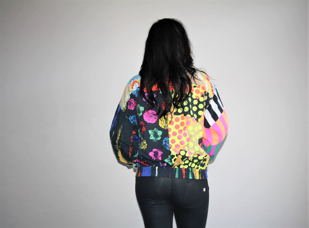 1990s Honolulu Hawaii Neon Surf Abstract Graphic Windbreaker
