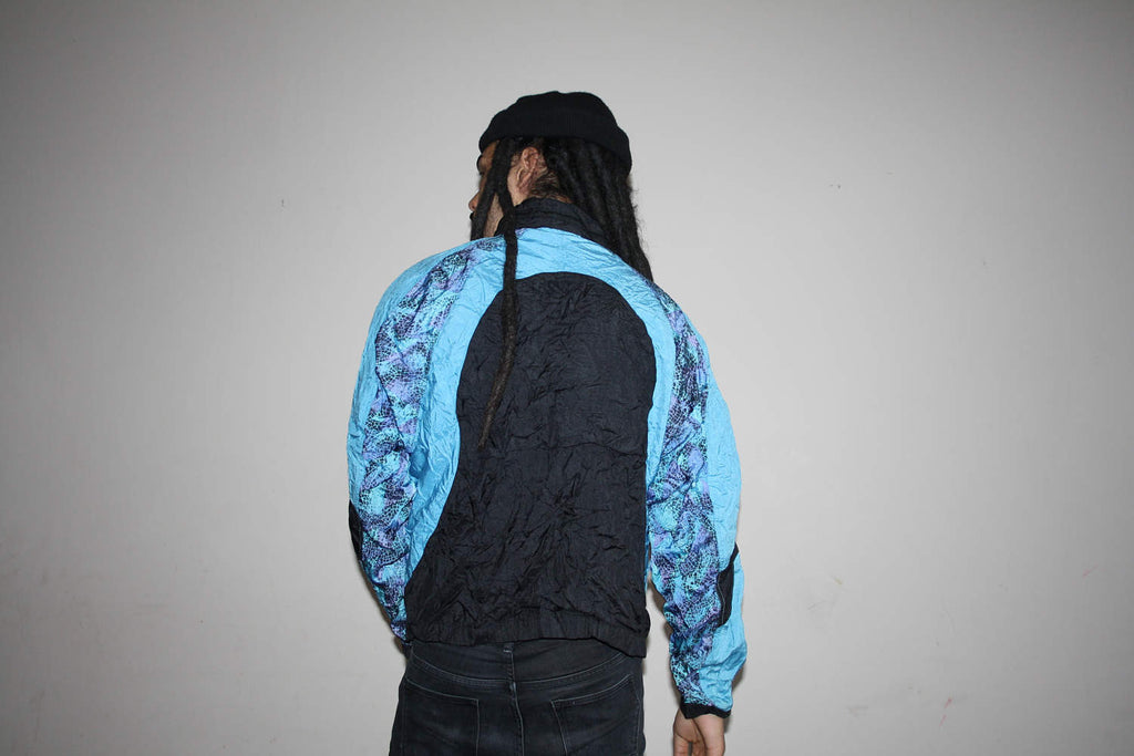 1990s Tribal Neon New Balance Blue and Green Colorblock Windbreaker