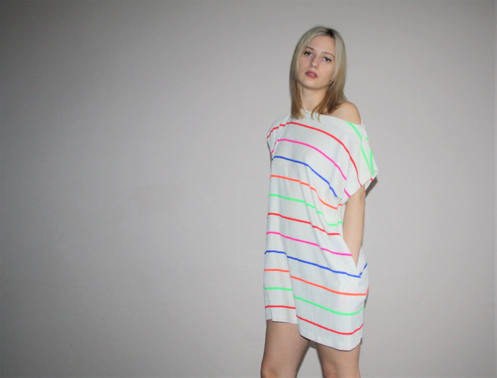 1980s Vintage Neon Rainbow Stripes New Wave Mini Dress