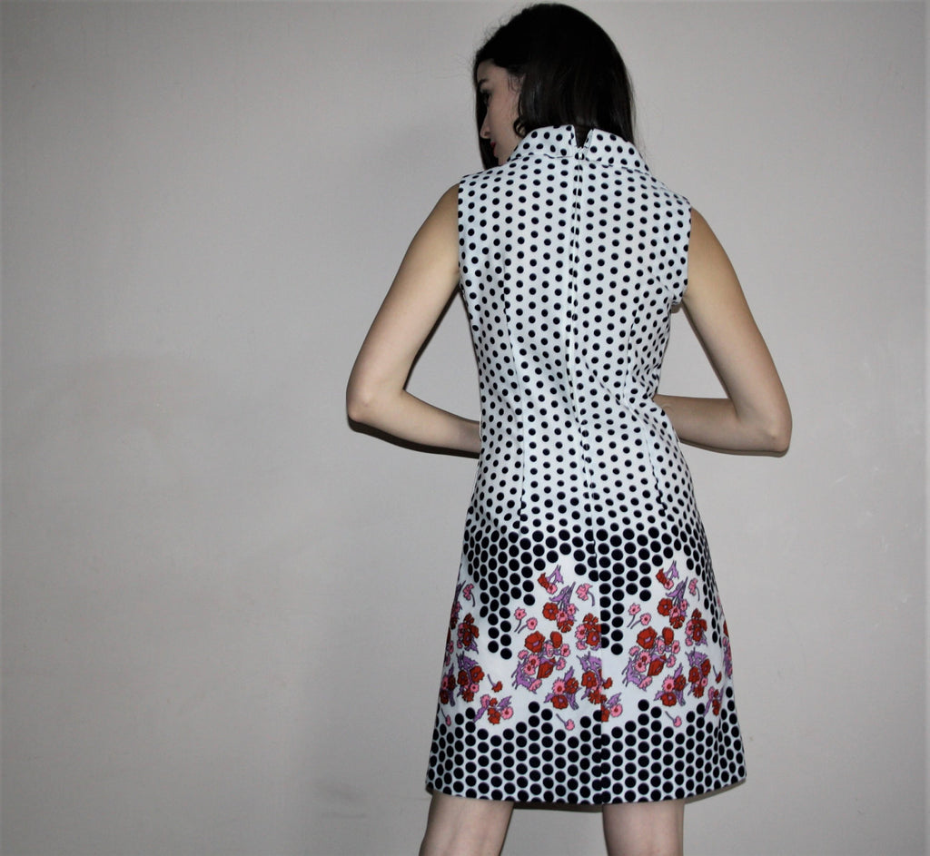60s Vintage Graphic Black and White Floral and Polka Dot Mod Day Dress