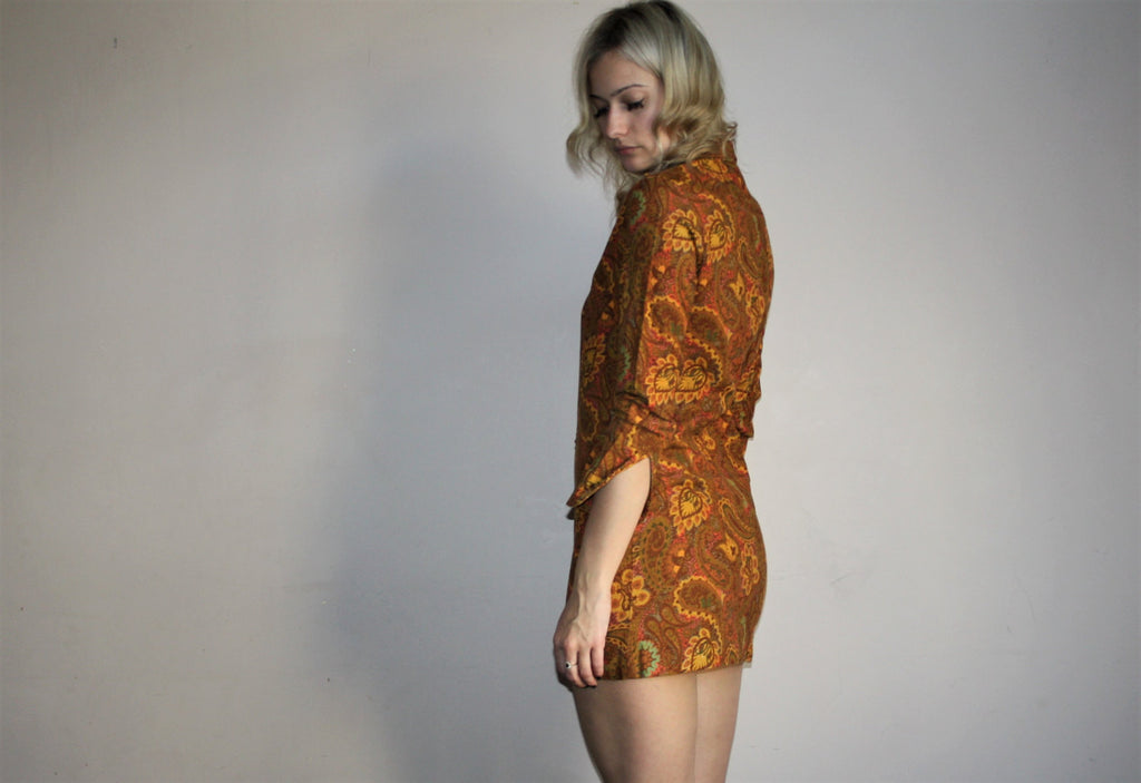 1960s Graphic Paisley Floral Psychedelic Mod Mini Festival Dress