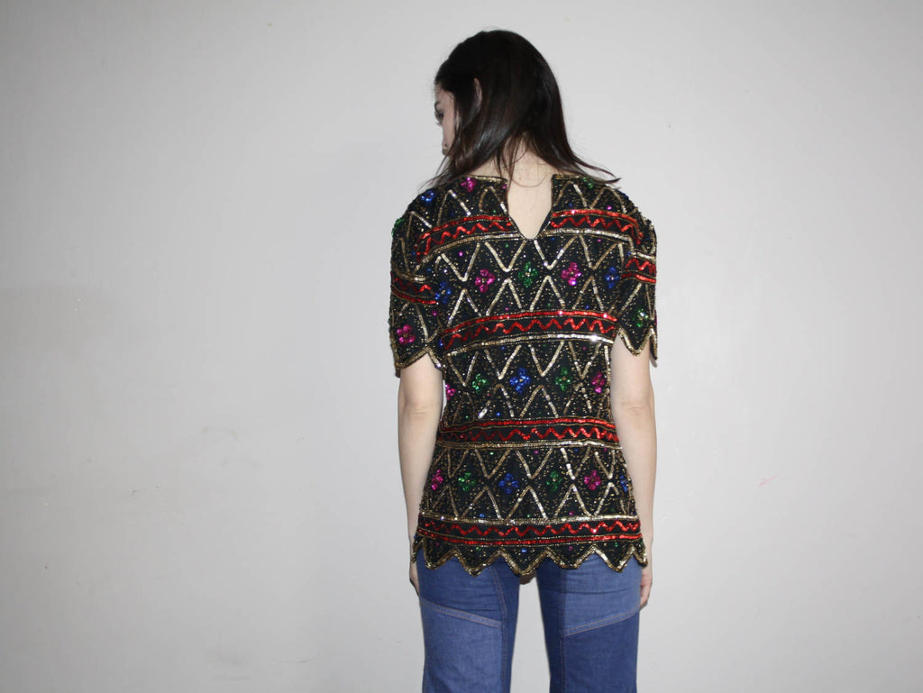 1990s Vintage Sequin Silk Black and Rainbow Glam Party Top