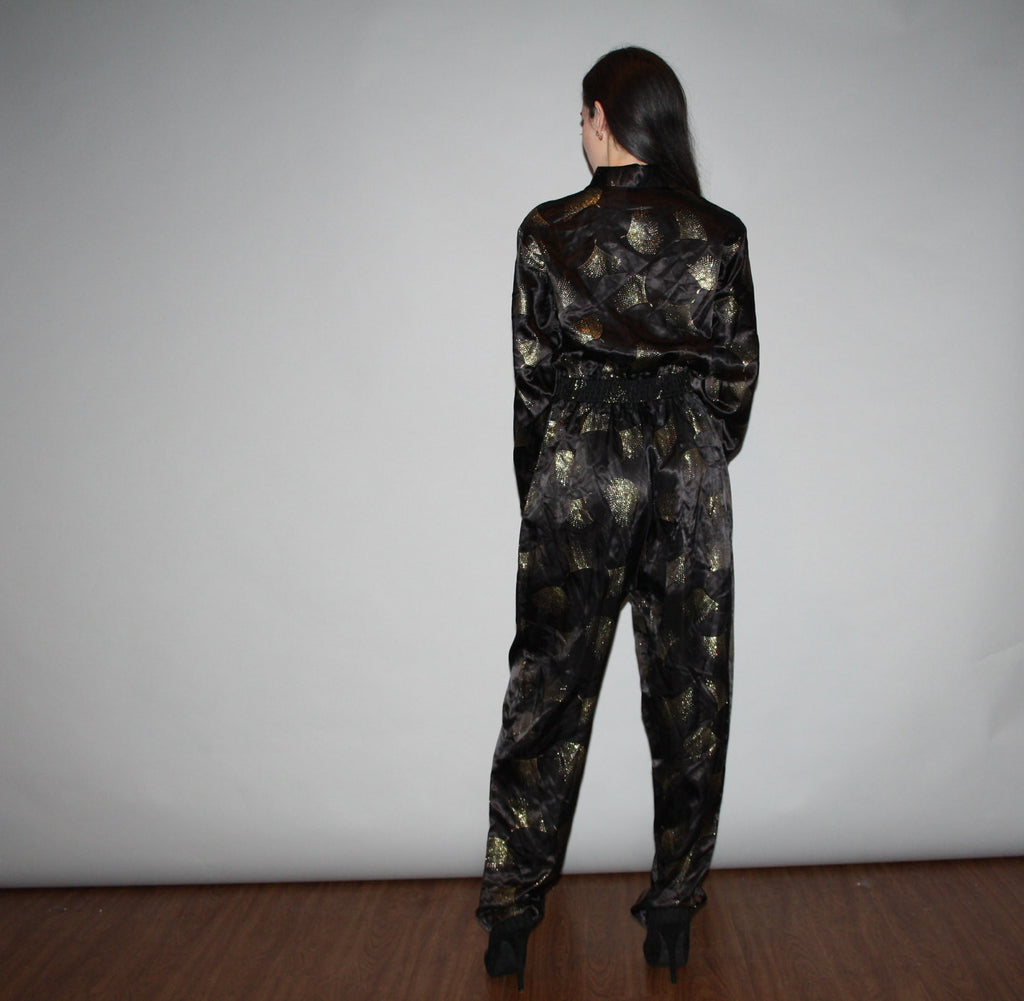 Vintage 1980s Gold Glam Black Metallic Disco David Bowie Jumpsuit