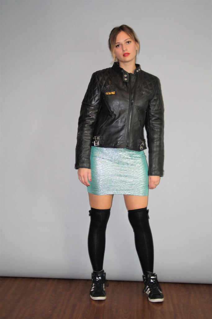 Vintage 90s G'Mac Genuine Leather Quilted Moto Rocker Jacket