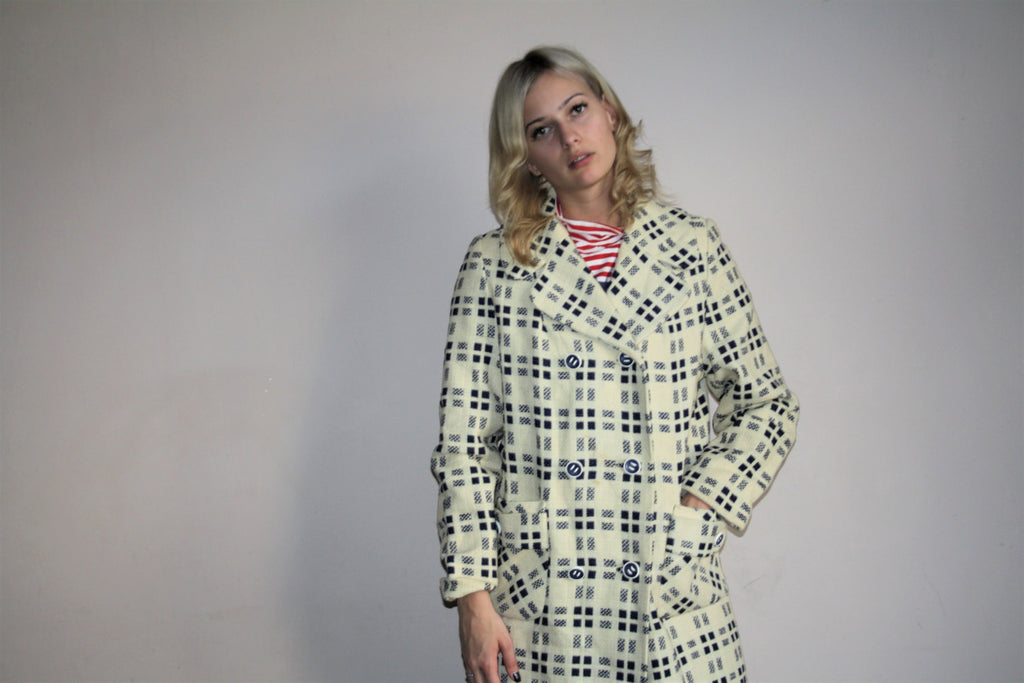 Vintage 1960s Nautical Mod Checkered Long Coat