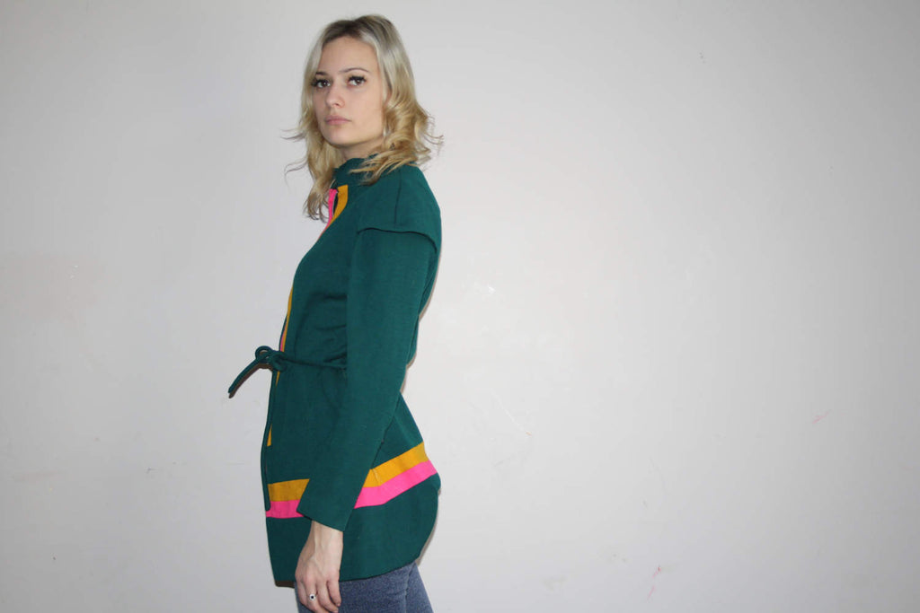 Vintage 1960s Mod Colorblock Neon Detail Sweater Tunic Top