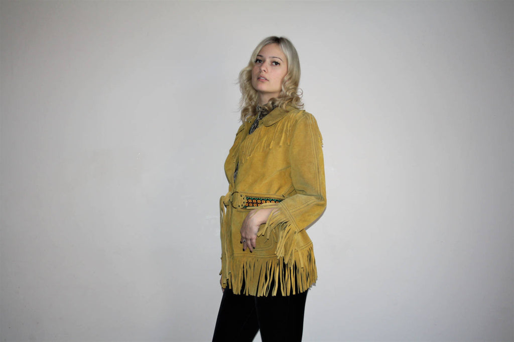 Vintage Authentic 1950s Western Cowboy Fringe Leather Suede Coat