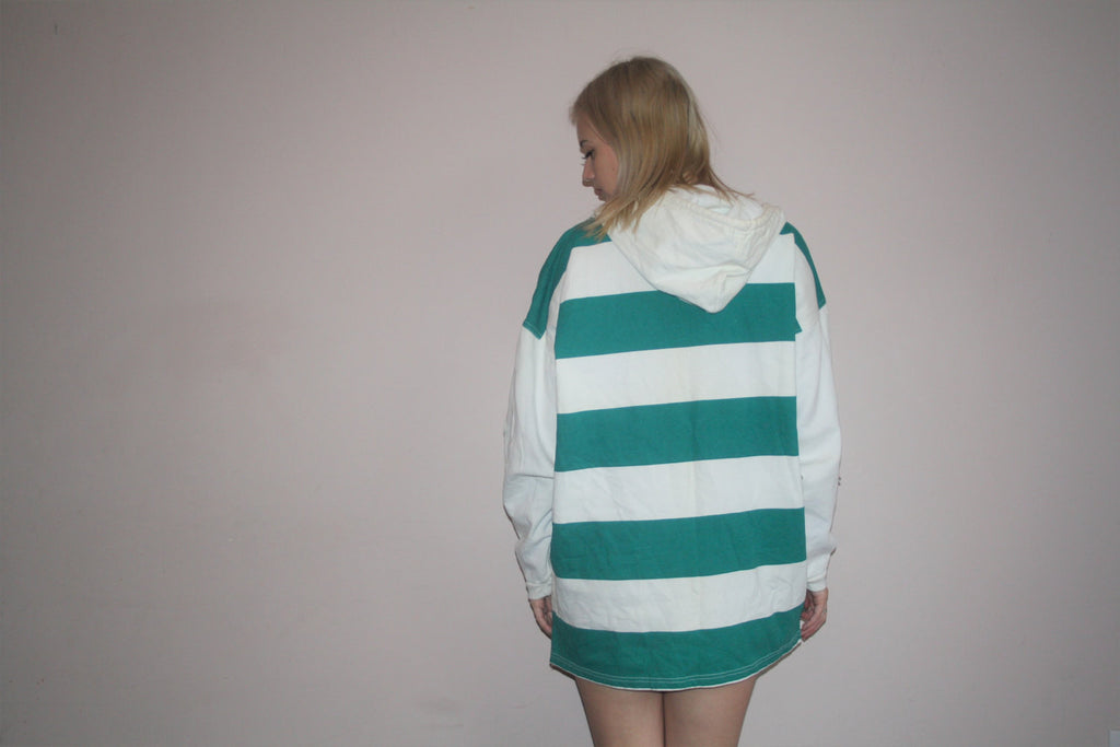 1990s Vintage ENUF Logo E.N.U.F International Green Striped Colorblock Graphic Abstract Hip Hop Hoodie Sweatshirt