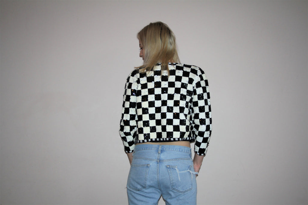 1980s Vintage Black and White Checker Abstract Graphic Beaded Sequins Jacket
