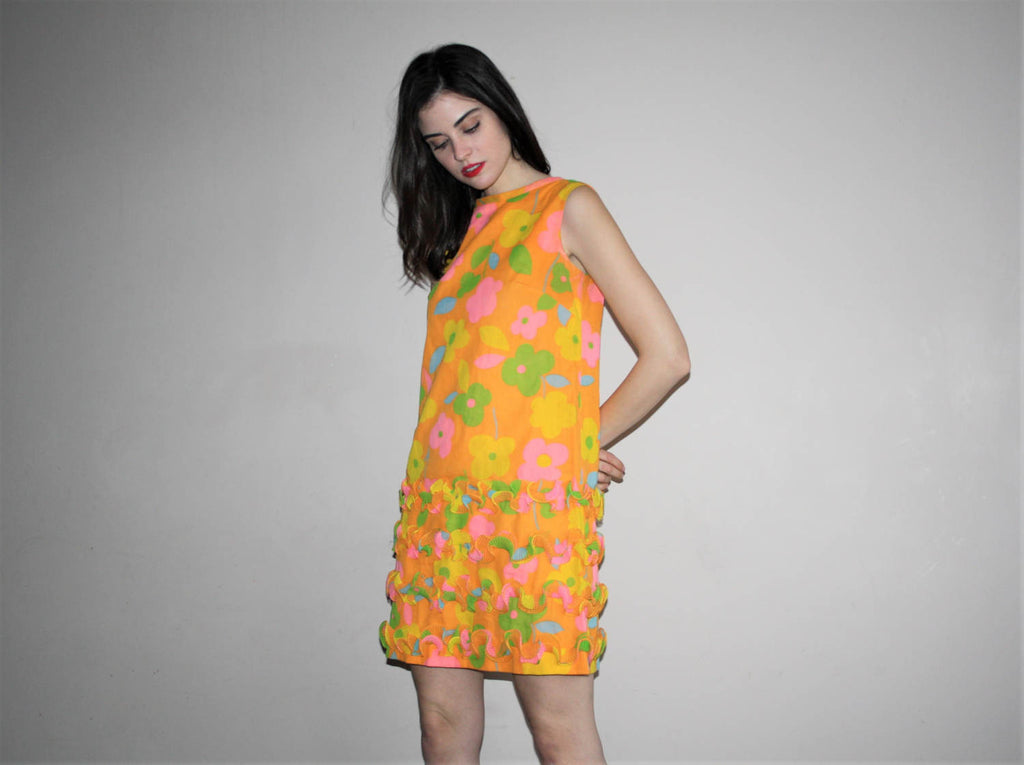 1960s Mod Neon Psychedelic Flora Graphic Frill Dress