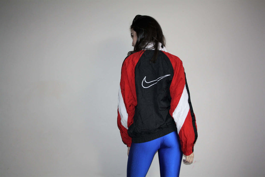 1990s Graphic Nike Red and White Colorblock Urban Hip Hop Nylon Windbreaker Jacket