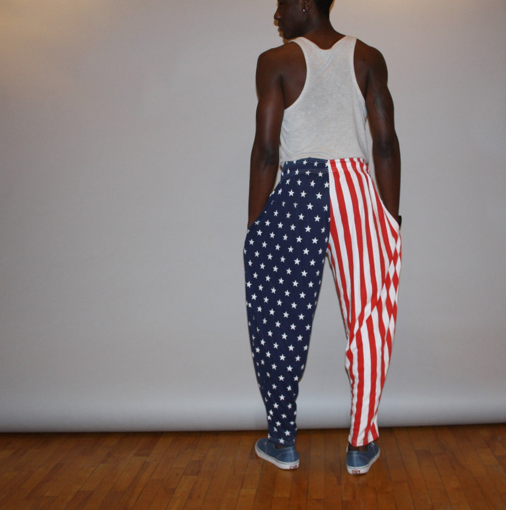 1990s American Flag USA Red White and Blue Stars and Stripes Zumba Harem Men's Track Pants Sweat Pants
