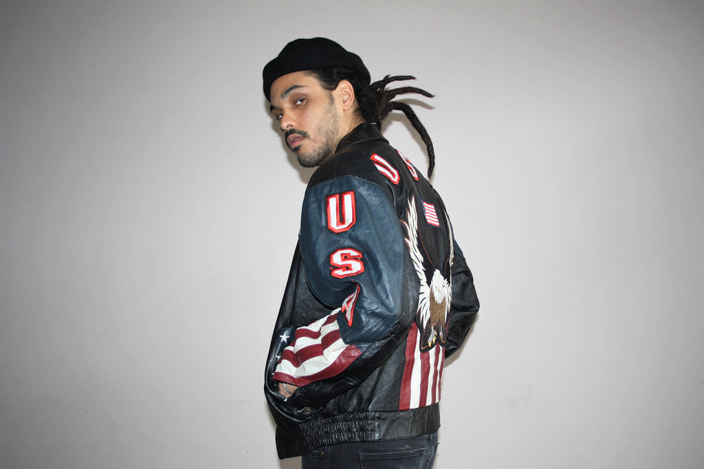 1990s Vintage American Flag USA American Eagle Leather Bomber Jacket
