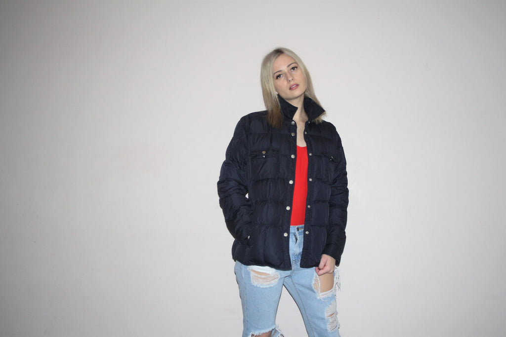 90s Tommy Hilfiger Blue Puffy Ski Coat