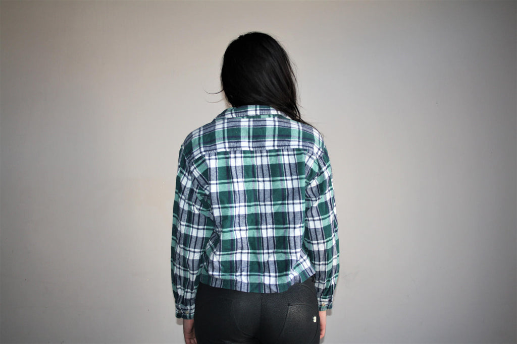 1990s Plaid Grunge Cropped Flannel Sweater