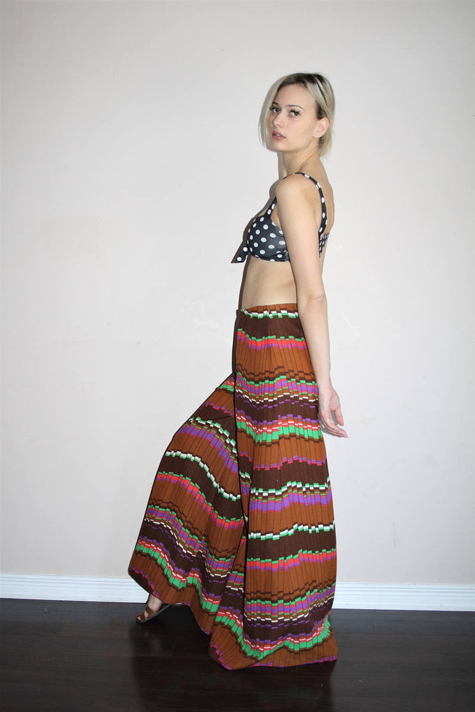 Wide Leg Vintage 1960s Mod Graphic Geometric Hippy Rainbow Festival Palazzo Pants