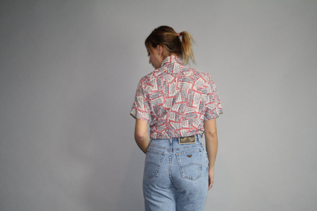 Vintage 70s Budweiser Beer Button Up T Shirt