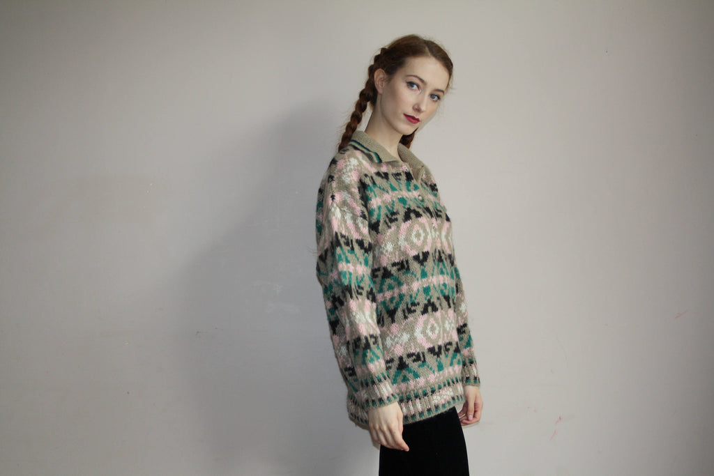 80s Vintage Benetton Knit Fair Isle Pastel Graphic Sweater