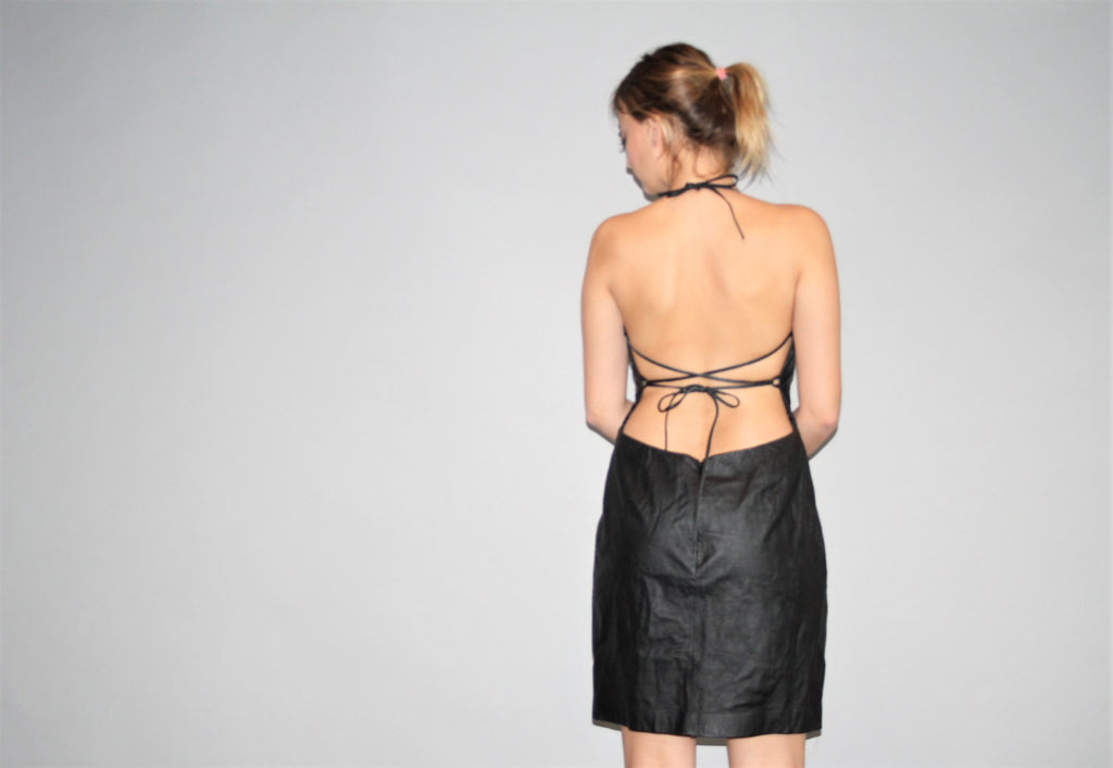 1990s Backless Minimalist Sexy Leather Supermodel Black Dress