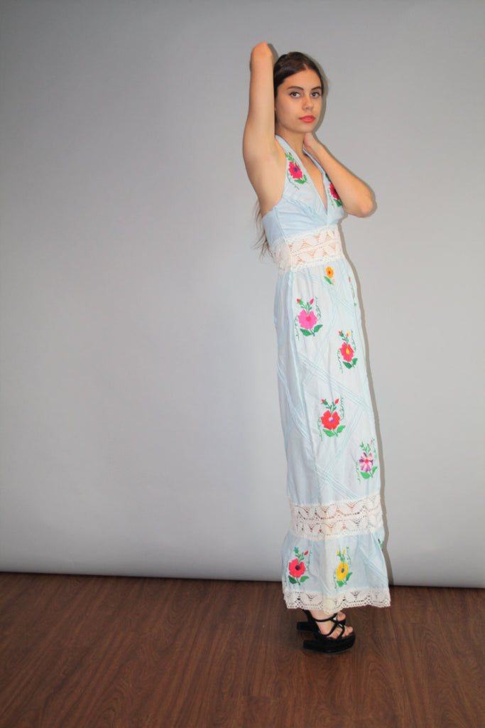 Vintage 1960s Pastel Blue Crochet Lace Oaxacan Ethnic Hippie Mexican Festival Rainbow Floral Embroidered Halter Backless Maxi Dress