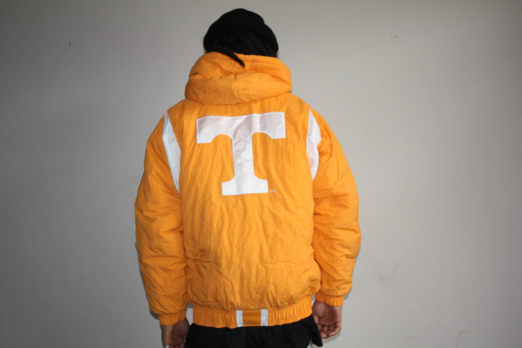 VTG 1990s Tennessee Starter Brand Varsity Athletics Orange Puffy Parka Coat