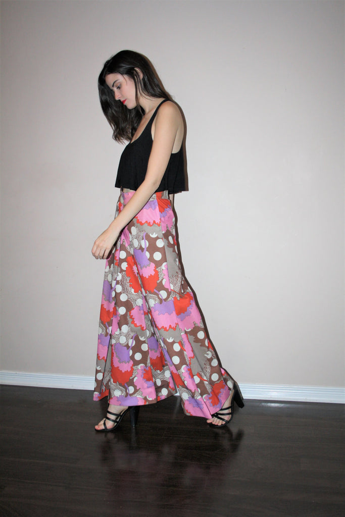 1960s Vintage Psychedelic Palazzo Art Deco Mod Asian Graphic Avant Garde Wide Leg Pants Skirt