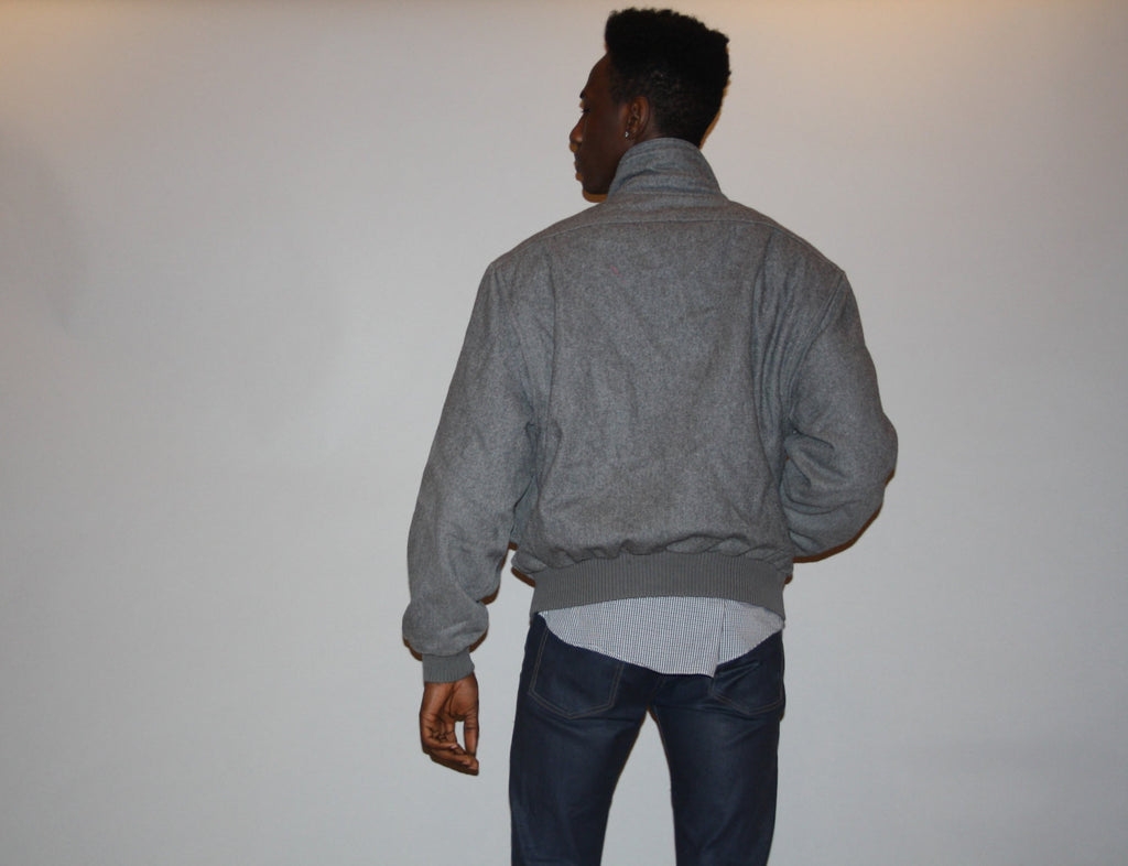 Rare 1980s Gray Wool Members Only Bomber Jacket Coat - Members Only Coat