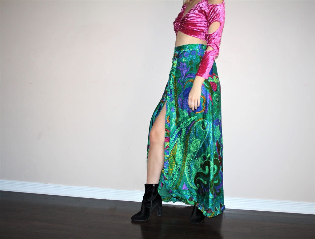 Vintage 60s Psychedelic Paisley Floral Hippie Festival Maxi Slit Skirt