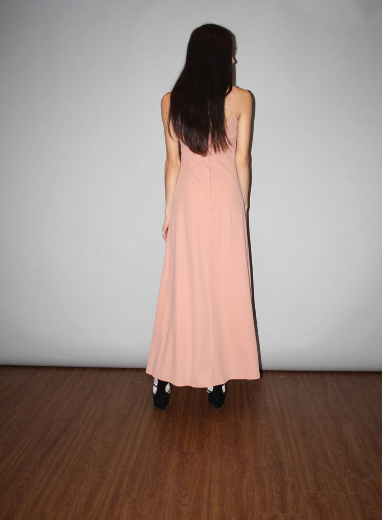 Vintage 1970s Blush Nude Maxi Dress - Vintage 70s Nude Pink Maxi Dress