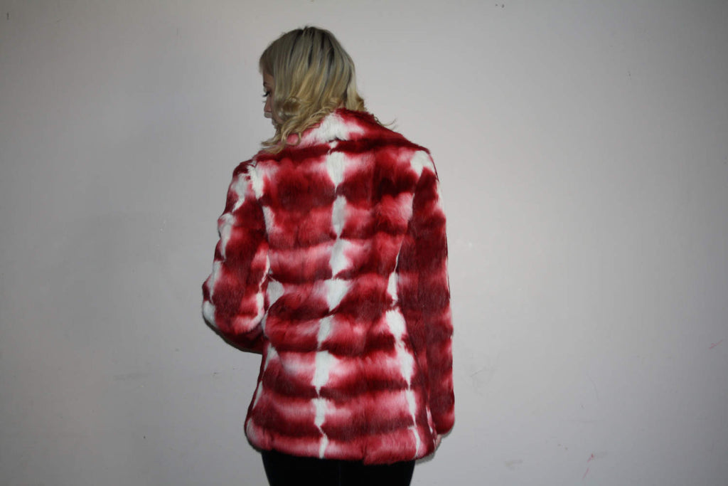 Red Ombre Rare Vintage 90s Abstract Tie Dye Rabbit Fur Coat