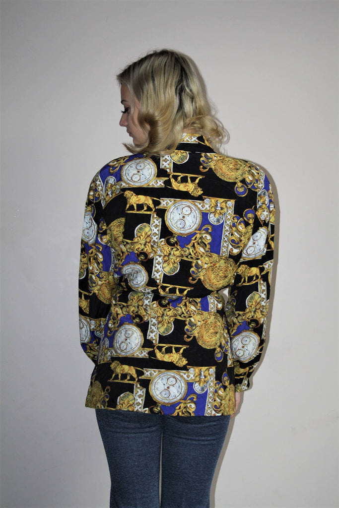 1980s Vintage Novelty Royalty Scarf Print Gold Quilted Glam Jacket