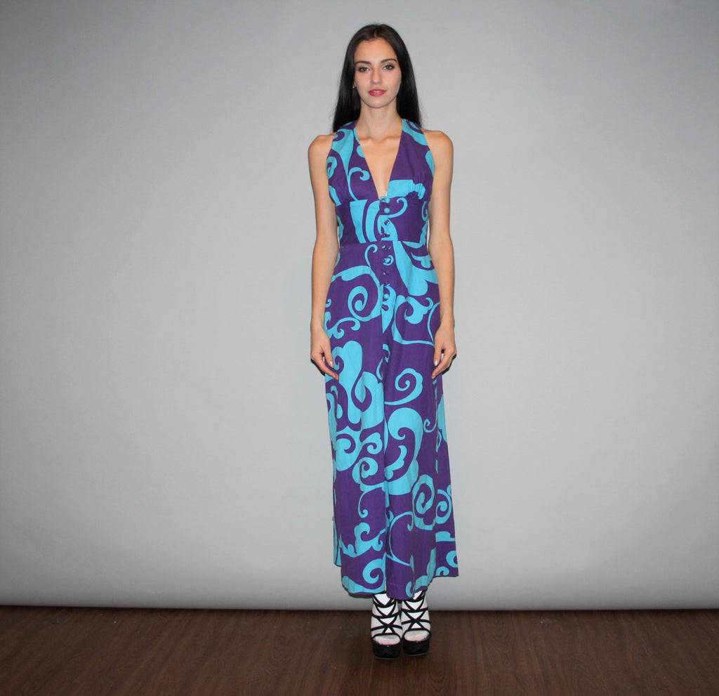 1960s Otaheite Blue Graphic Hawaiian Vintage Purple Floral Psychedelic Mod Maxi Halter Dress