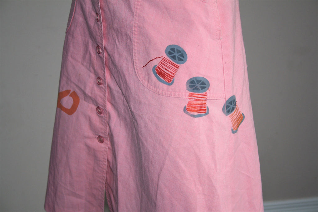 1970s Coral Novelty Sewing Scissors and Thread Spools Button Up A Line Skirt