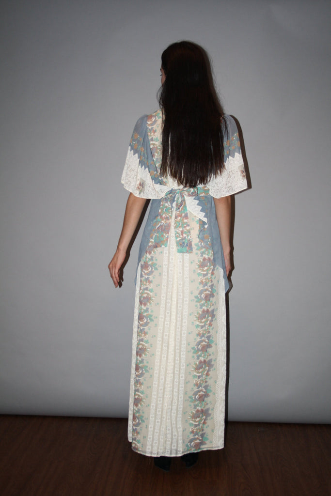 1970s Pastel Lace Print Blue and Pink Angel Wing Boho Prairie Long Maxi Dress
