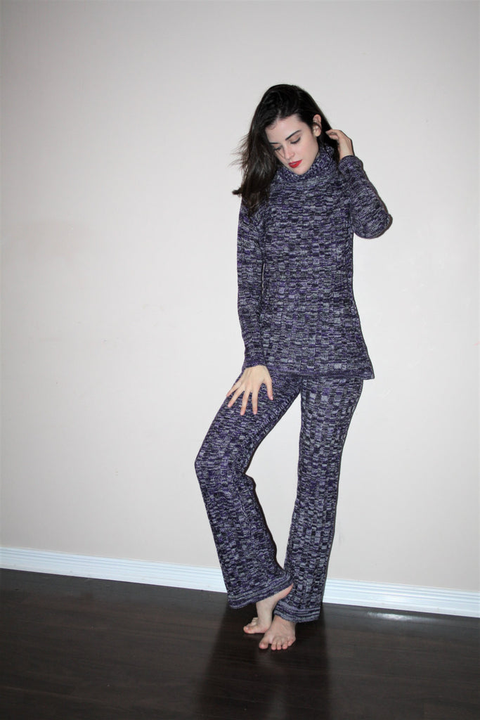 1960s Rare Vintage Purple Knit Hippie Bell Bottom Pants and Turtleneck Two Piece Lounge Set