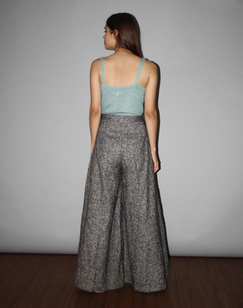 Vintage 90s Wool Rainbow Speckled Gray Wide Leg Trouser High Waist Flare Bell Bottom Pants