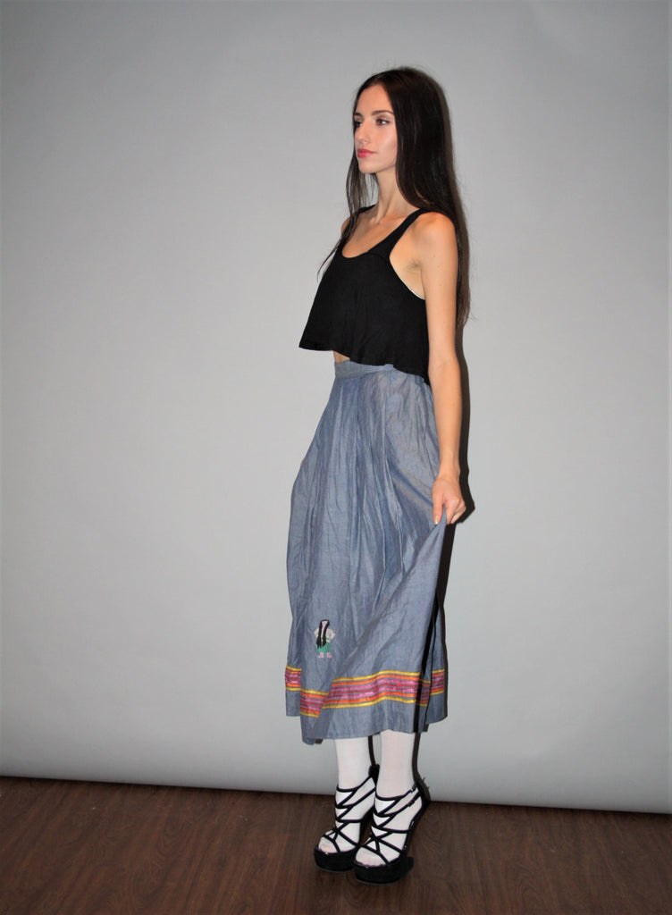 Vintage 1970s Cotton Denim Ethnic Embroidered Rainbow Novelty Circle Skirt