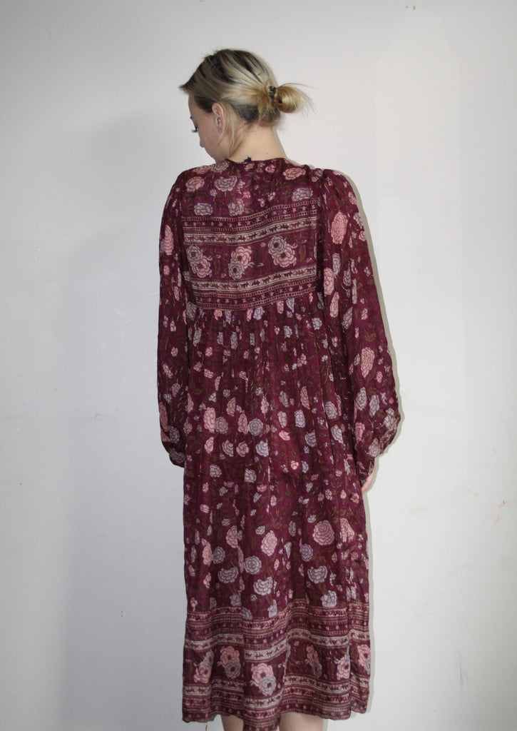 1970s Vintage Indian Cotton Floral Ethnic Gypsy Boho Hippie Festival Dress