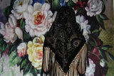 90s Black Romantic Victorian Goth Gothic Burnout Velvet Fringe Triangle Shawl Scarf