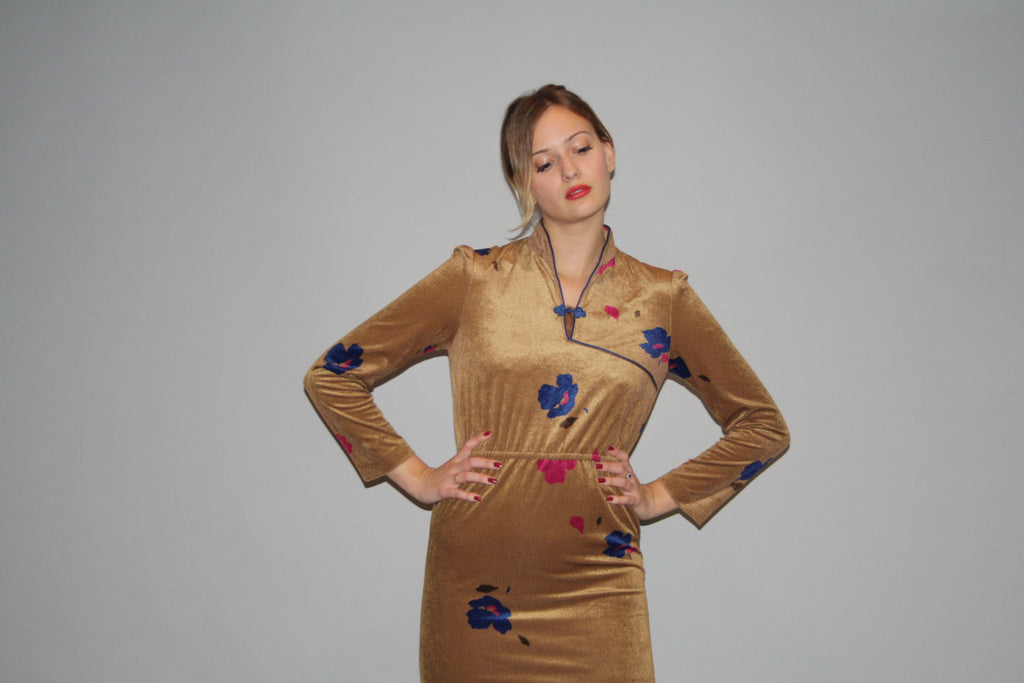 80s Asian Vintage Velour Floral Cheongsam Gold Dress with Slit