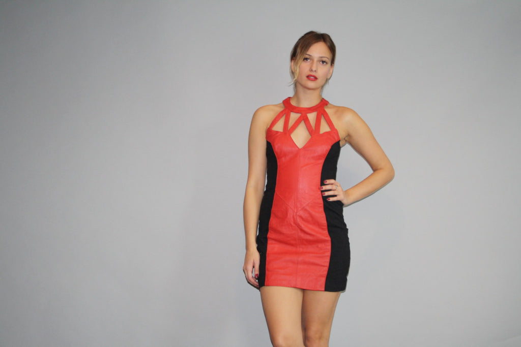 1990s Red and Black Leather Cutout Hip Hop Rap Rapper Body Con Dress